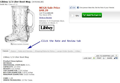 Libby Boot Glass on Sale Now from Restockit.com